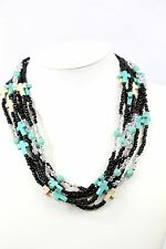 D15 Layered Natural Stone Cross Bead Black Green Necklace Earrings Boutique