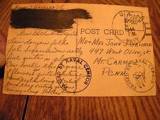 VINTAGE POSTCARD PASSED BY NAVEL CENSOR 1944 NIGHT BLOOMING CEREUS T. H.