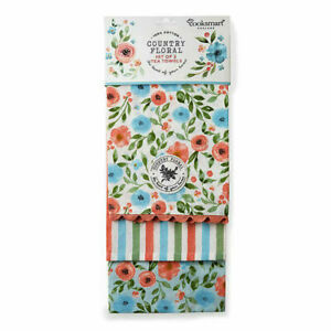Pack of 3 Tea Towels Country Floral Cooksmart