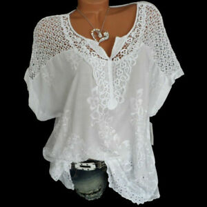 Plus Size Womens Boho Short Sleeve Ladies Blouse Lace Shirt Casual V-Neck Tops