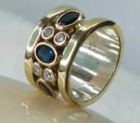 AAA QUALITY 925 SILVER HANDMADE JEWELRY CEYLON BLUE SAPPHIRE & W.TOPAZ BAND RING