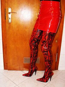 Neu Latex Overknee Stiefel Gr. 40 Crotch Modell Rot / Schwarz 13 cm Absatz