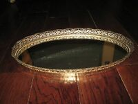 Vintage Large Oval Filigree Floral Gold Metal Vanity Perfume Tray Mirror