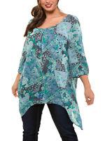 Ulla Popken tunic blouse top plus size 20/22 28/30 32/34 36/38 crinkle hanky hem
