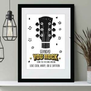 Personalised You Rock Father's Day Print Gift Birthday Present Daddy Grandad