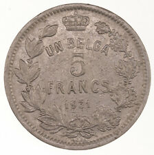 Raw 1931 Belgium 5 Francs Uncertified Ungraded Coin