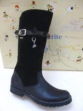 GIRLS STARTRITE AQUA-FELINE AQUA-RITE BLACK SUEDE LEATHER BOOTS size UK 1 F 33