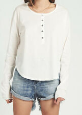 One Teaspoon Womens 20764 Upsized Tee Diego Button Front White Size M/L