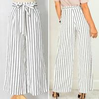 Women Sexy Fashion Striped Loose Casual High Waist Wide Leg Long Pants Trousers