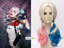 Suicide Squad Harley Quinn Halloween Costume Pink Blue Cosplay Wig Batman Joker