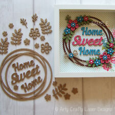 MDF Craft Blank Home Sweet Home Floral Wreath
