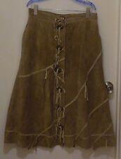 Vintage Ladies Tan Suede Skirt w/ Fringe - Size 14