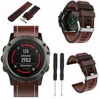 Vintage Genuine Leather Watch Band Wrist Strap Bracelet Tool For Garmin Fenix 5X