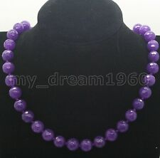 AAA Genuine 10mm Faceted Purple Jade Round Gems Bead Necklace 18''