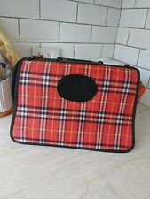 Pet Carrier Red Tartan Fabric Small Unused Tote Vet Visits Travel Dog Cat Rabbit