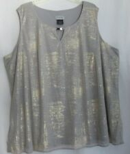 CATHERINES plus size 4X  sparkly dressy sleeveless top gray with gold wash