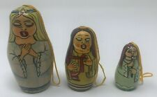 Authentic Models Holland 3 Piece NESTING Russian Stacking Doll ANGELS Matryoshka