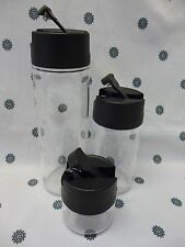 Tupperware Condiserve Set of 3 Soy Scapes 200ml 600ml 1L Black / Clear New