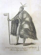 <Original 1784 newspaper ENGRAVING NEW ZEALAND TAHITI WARRIORS Full Dress MAORI
