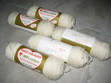 VINTAGE Retired 5 Skeins RED HEART Knit & Crochet Yarn Sewing OFF WHITE 2.5 oz