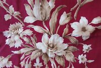 Beautiful Panel Vintage French Romanex Boussac Cotton Toile Flower Fabric 3x4 FT