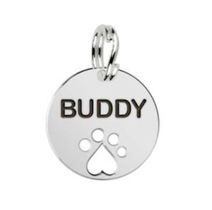 Small Personalised Sterling Silver Round Disc Name Tag with Paw Print By MYLEE