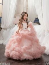 Flower Girls Dress Pink Princess Puffy Ball Gown Kid Wedding Bridal Dresses 2017
