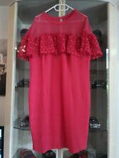 Abendkleid Spitzenkleid Stretchkleid Hochzeit Party Standesamt pink rot Gr.48 50