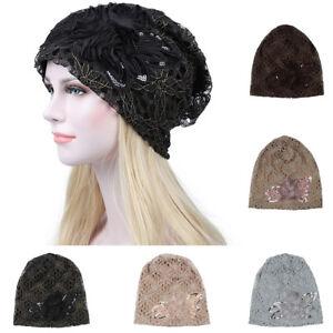 Muslim Lace Headwear Full Wrap Lace Flower Hijab Stretch Turban Chemo Cap