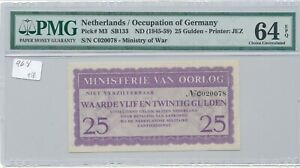 WWII Netherlands Occupation of Germany Ministry of Oorlog P-M3 25 Gulden PMG 64