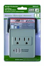 Coleman 041051 2 Pack 2.1A Usb Charger 2�Outlet 245J Surge Protector, White