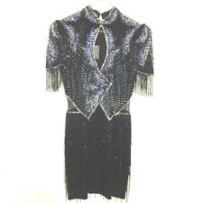 Vtg Claires Collection Womens Pageant Prom Dress Blk Multi Heavy Beading Sz 0/2