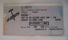 KASSAV USED CONCERT TICKET / BILLET / PLACE - 1996 PARIS OLYMPIA