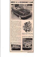 1954 NASH METROPOLITAN ~ ORIGINAL NEW CAR PREVIEW ARTICLE / AD