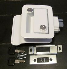 White RV Entry Door Lock Handle Knob Deadbolt Keys Camper Travel Trailer CW FIC