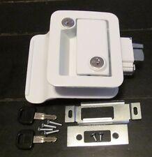 White RV Entry Door Lock Handle Knob Deadbolt Keys Camper Travel Trailer CW FIC