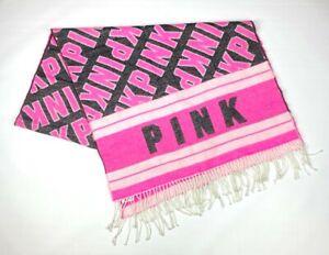"Victorias Secret Pink Black White Soft Cozy Throw Blanket 27"" X 88"""