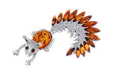 925 Sterling Silber Cognac Bernstein Eichhörnchen riesige Brosche Anhänger Schmuck Jewelry