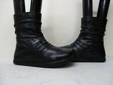 Kalso Earth Shoe Carling Black Leather Zip Ankle Boots Womens Size 5.5 B