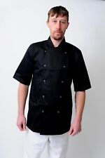 More details for chef coats chef jacket in white & black colour unisex press studs good quality