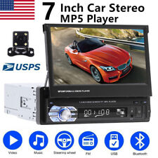 Retractable 7'' 1 Din Car Radio Stereo Head Unit AUX USB BT Touch Screen +Camera
