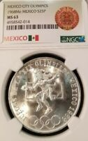 1968 MEXICO SILVER 25 PESOS OLYMPICS EVEN RINGS NGC MS 63 BRIGHT FROSTY LUSTER