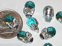 5 Pc. Miniature dollhouse tiny Flatback cl crystal Halloween mask Skull 11x7mm