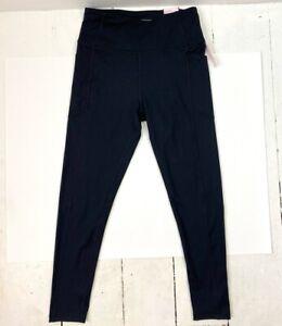 Victorias Secret Womens Leggings Black High Rise Stretch Soft Pocket 8 New