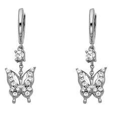 CZ Butterfly Dangle Earrings Solid 14k White Gold Huggie Hoops Fancy Fashion