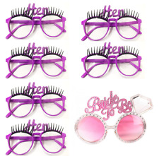 6 Hen Night Purple Glasses Eye Lashes & 1 Bride to Be Glasses Fancy Dress Party