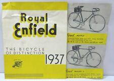 Vintage Royal Enfield Bicycle Catalogue / Poster 1937