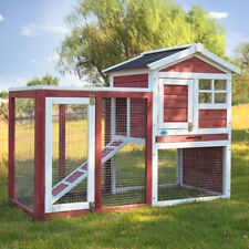 Chicken Coop Rabbit Hutch Cage Large House Wood Wooden Habitat Animal Pet New