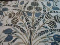 "Near 2 yds THIBAUT Fabric Corneila F972602 Blue 100% LINEN Drapery 54"" x 70"" BTP"