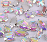 Mixed Shapes Sizes Crystal Clear AB Rhinestone Settings Sew On Crystals Glass